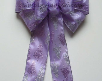 Purple Silver Winter Wreath Bow Lavender Silver Winter Birthday Party Decor Lavender Shower Party Decor Wedding Pew Bow Christmas Wreath Bow