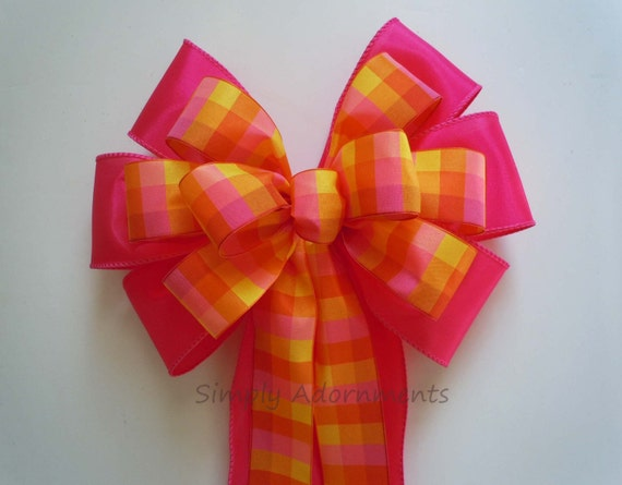 Pink Orange Wreath Bow Spring Plaid Bow Pink Orange Wedding Aisle Decor Bow Pink Plaid Birthday Shower Party Bow Bridal shower party Decor