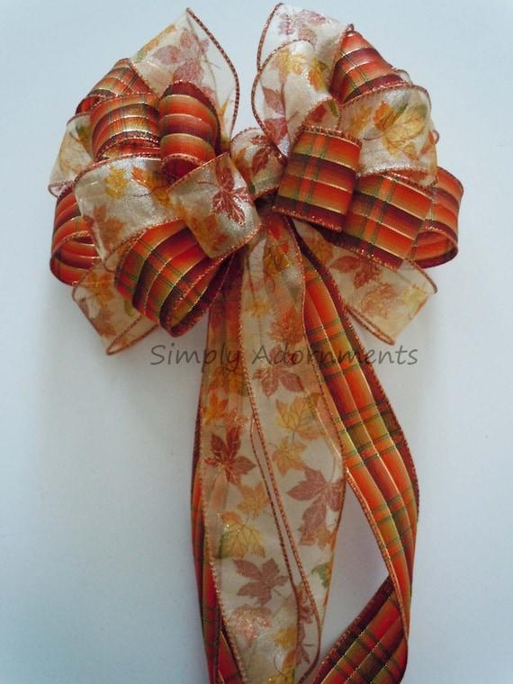 Fall Plaid Maple Leaves Bow Thanksgiving Wreath Bow Bronze Burnt Orange Pew Bow Fall Plaid Wedding Church Aisle Pew Bow Fall Door Hanger Bow