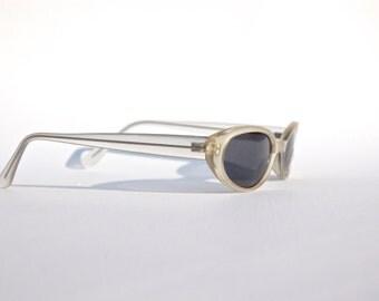 Vintage 90s Lucite Sunglasses / Oval Transparent Sunnies w Black tone Frame -NOS Dead stock - Seapunk/Grunge/Acid House/Rave Culture