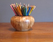 Maple wood vase with walnut rim, pencil holder, whatnot holder, light and dark brown colors, figured maple wood turning
