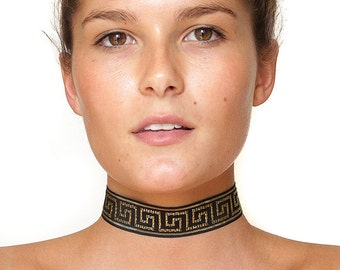 Aztec Versace style Choker Necklace With Adjustable back, one size fits all Lobster clasp closure, Goth Halloween Gold 90s  boho tattoo