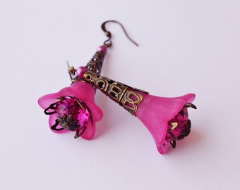 Fushia Pink Bell Flower Earrings -Vintage Inspired - Lucite Flower Earrings
