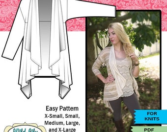 EASY SEWING PATTERN for Waterfall Cardigan