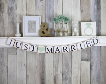 Rustic Mint Car Banner, Rustic Wedding Car Sign, Wedding Gift for Photography Client, Wedding Decoration,  Just Married Car Sign, Banner