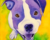 Pit Bull Painting 8x8 Print Painting of Dog Watercolor Painting Custom Dog Portrait Staffordshire Terrier Art Dog Lover Gift PitBull Art