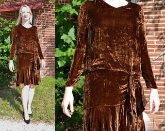 1920s Vintage Silk Velvet Brown Evening Flapper Dress size M bust 34