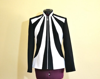 1980s Vintage Alberto Makali Black and White Leather Jacket size 4 (S M ) bust 36