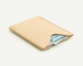 1-Pocket Card Wallet. Natural leather; Italian vegetable tanned cowhide.