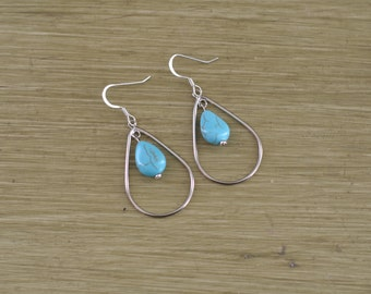 Silver and Turquoise Teardrop Earrings - Turquoise Drop Earring - Silver Teardrop Hoop Earrings - Bridesmaid Gift Earring - Turquoise Dangle