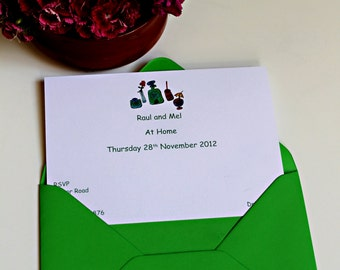 8 Personalised  illustrated Party Invitations 'Drinks'. Anniversary/Birthday Party/ New home/ Retirement/ 50th/60th. Garden party invites