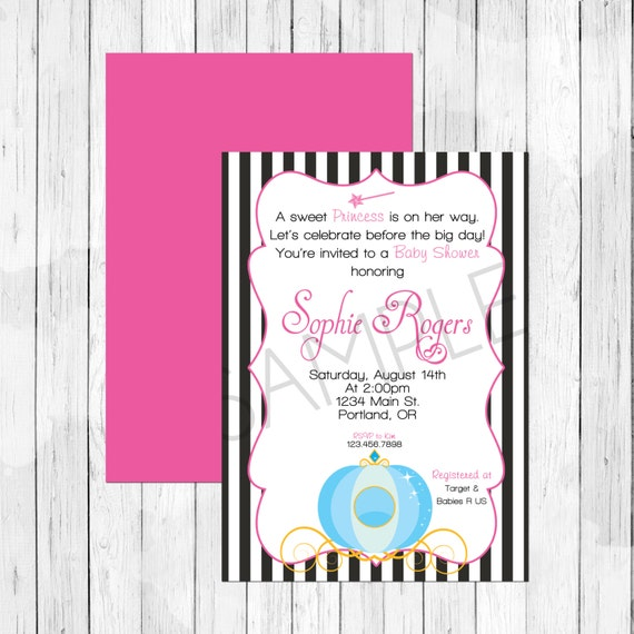 princess theme party personalized baby shower invitation or evite