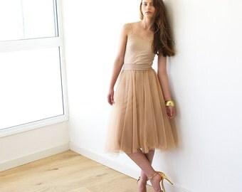 Tulle midi length gold-brown bridesmaids skirt, Knee length tulle skirt 3006