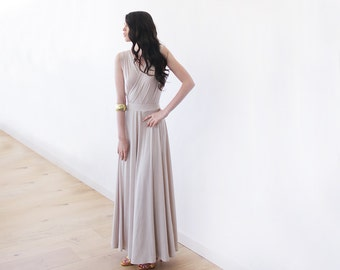 Latte formal maxi dress with front slit, Champagne bridesmaids dress