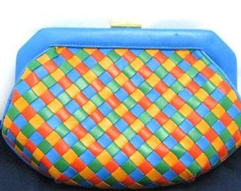 Vintage Bottega Veneta intrecciato woven lamb leather pouch clutch bag in orange, blue, green, and yellow.