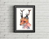 Geometric Fox with Antlers Watercolour 5x7 DIGITAL DOWNLOAD Print