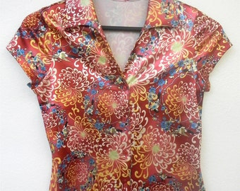 Vintage XS Extra Small 80s 90s Bird Novelty Print Asian Motif Button Up Short Sleeve Indie Hipster Alternative Blouse