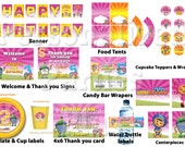Team Umizoomi birthday party kit: banner, cupcake toppers & wrappers, centerpieces, signs, labels plates, cups, candy bar, water bottle