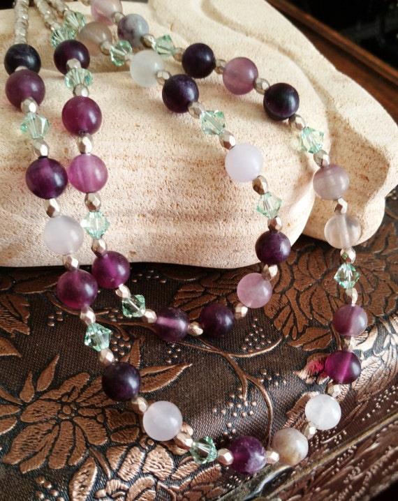 Multi Strand Purple Fluorite Necklace, Swarovski and Gemstone Jewelry, Purple and Green Necklace