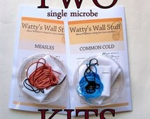TWO Cross Stitch KITs -- any two microbe cross stitch kits, STDs, viruses, bacteria, prions, neurons, you name it