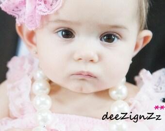 Hair Accessories-Baptism Headband-Pink-Petti Lace -Flower Headband-Wedding-Flowers for Hair-Bridesmaid-Flower Girl-Infant-Baby-Christening
