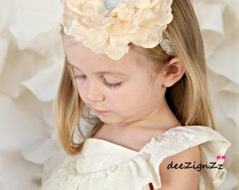 Girls Hair Accessories-Baptism Headband-Ivory-Lace -Flower Headband- Christening-Wedding-Flowers for Hair-Bridesmaid-Flower Girl Headband