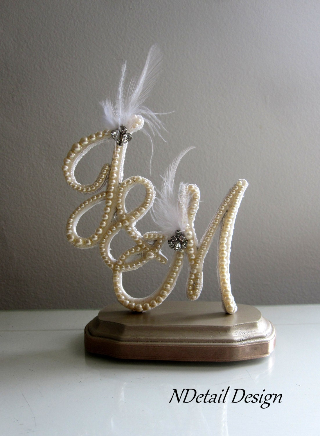 Wedding Cake Topper Multiple Letter Monogram by NDetailDesign