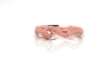 14K Gold Octopus Band with Diamond Accents