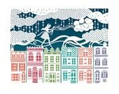 8x10 Print - Rooftop Balloons - Original Papercut Illustration - Fine Art Print