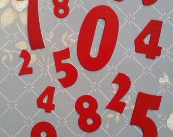 2 Dozen Vintage 1950s Cardboard Advertising Sign Red Numbers