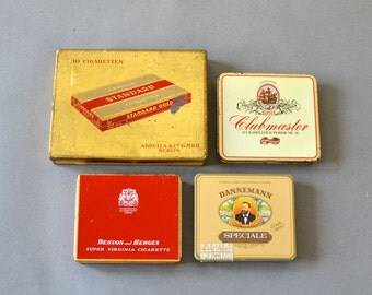 Vintage German tin tins cigarette tin box boxes collection red black dannemann