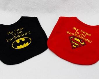 Batman Superman My cape is on backwards bib set for all the little superheros