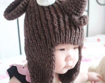 Reindeer Hat ,Knitted-Handmade