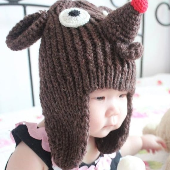 Knitting Pattern For Reindeer Hat : Items similar to Reindeer Hat ,Knitted-Handmade on Etsy