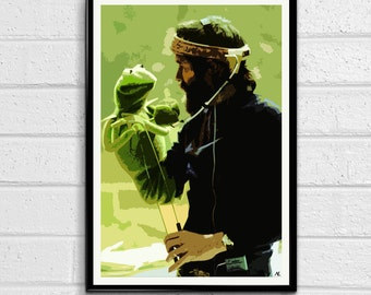 Jim Henson And Kermit the Muppets Sesame Street Pop Art Poster Print Canvas