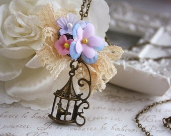 woodland vintage flower bouquet birdcage handmade summer blossom lace bow charm necklace bronze jewellery shabby cottage chic with gift box