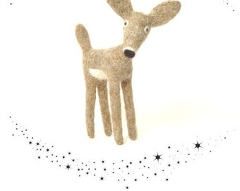Needle Felt Deer Collectable Soft Sculpture Deer