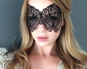 Midnight Butterfly Lace Mask - 50 Shades of Grey Mask - Black Butterfly Mask -  Masquerade Mask - Sexy Black Mask - New Year Eve Mask
