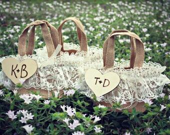 Rustic-flower girl-basket-burlap-bag-bride-wood burnt-custom-sign-shabby chic-vintage inspired-ivory-lace-western-woodland-purse-initials