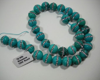 12mm Fancy Rhinestone Embedded Natural Turquoise Round Beads 12mm