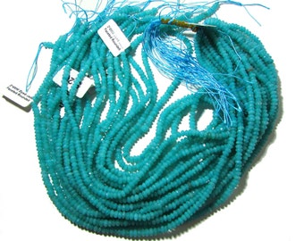 Teal Blue Jade Faceted Rondelle Beads  3mm to 4mm