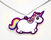 Chubby Unicorn Necklace, Rainbow Fat Pony Pendant