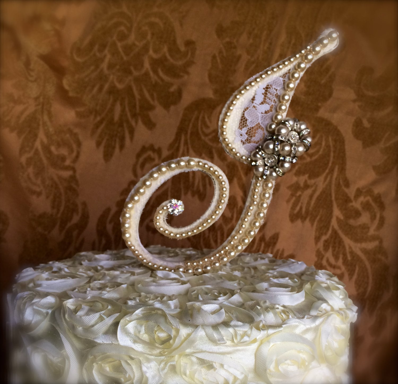 custom monogram pearl cake topper cake topper with brooch