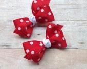 Adorable red polka dot pigtail bows, red polka dot bows, toddler bows, pigtail bows, baby bows, girls hair bows, red hair bows