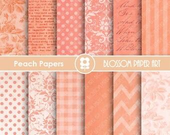 Digital Paper Peach Digital Backgrounds, Digital Scrapbooking Paper Pack, Textures, Damask, Dots, Floral Papers - INSTANT DOWNLOAD - 1655