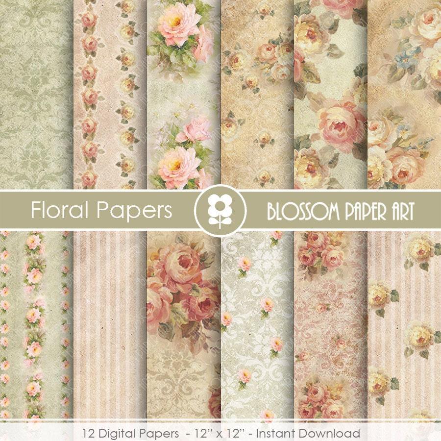 Papeles de rosas papeles decorativos vintage papeles - Papeles decorativos pared ...