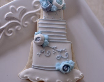 1 Dozen Wedding Cake Cookie Favor Style 3-Wedding Favors, Anniversary, Bridal Showers, Bridesmaids Gifts