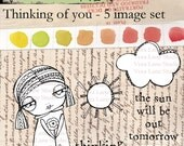 Thinking of you sentiments with whimsical girl, sun and cloud digi stamp set.  Available in instant download.