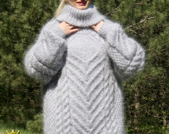Made to order thick light hand knitted mohair sweater with cables by SuperTanya