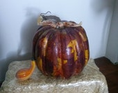 Thanksgiving Pumpkin with Fall Leaf Pattern, Textured Feel and Whimsical Ribbon Leaves - ABowForMama